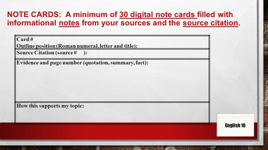 001 Research Paper Slide 4 Note Cards Rare For Card Examples Example Bibliography