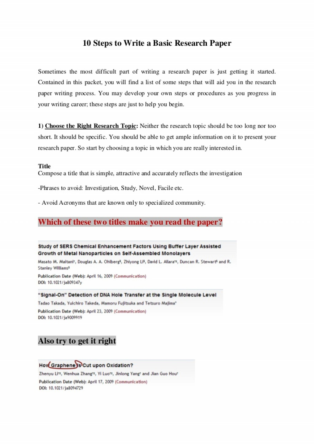 001 Steps Writing Research Paper 10stepstowriteabasicresearchpaper Thumbnail Best 10 To A Page Pdf Large