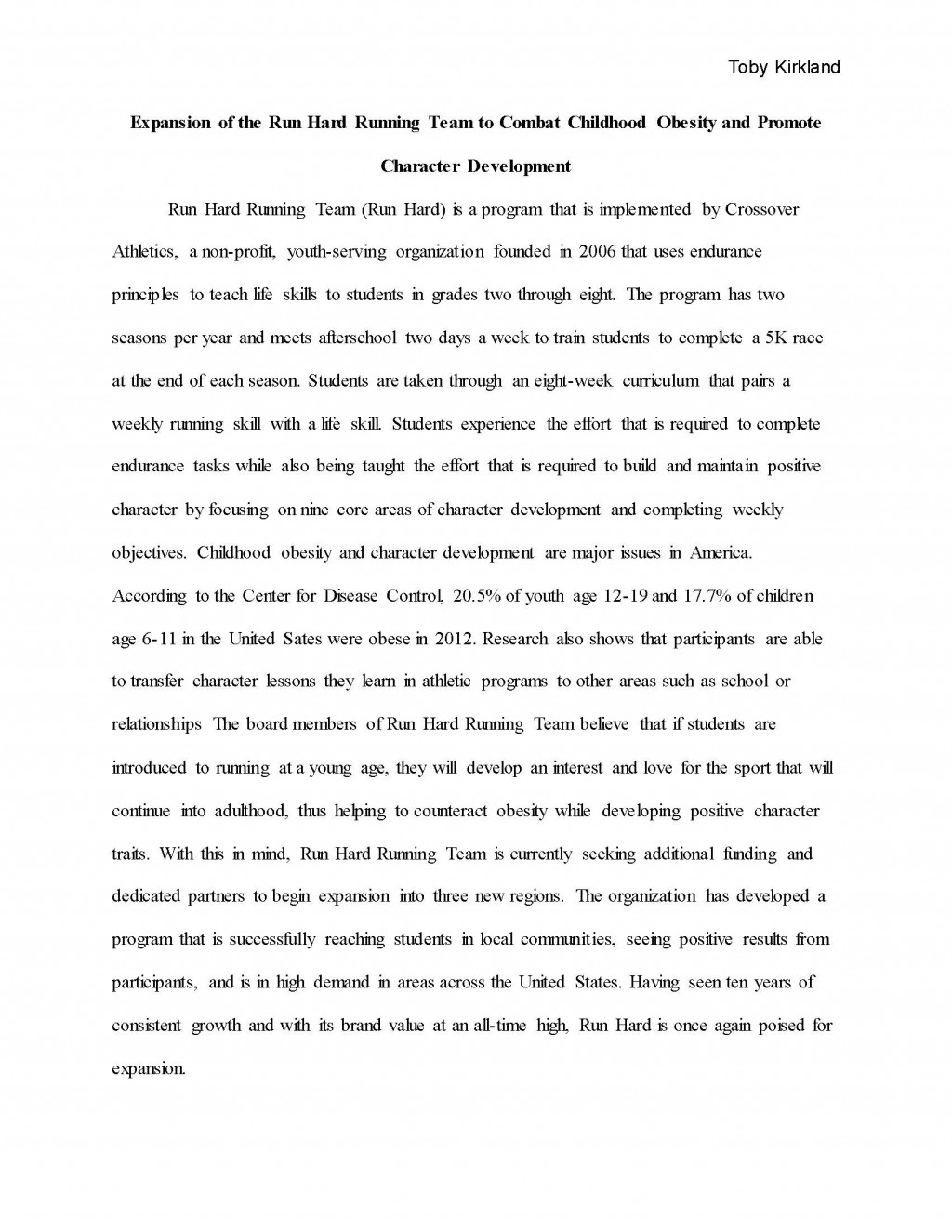 001 Toby Kirkland Final Grant Proposal Page 01 Research Paper Childhood Obesity Unique Example Large