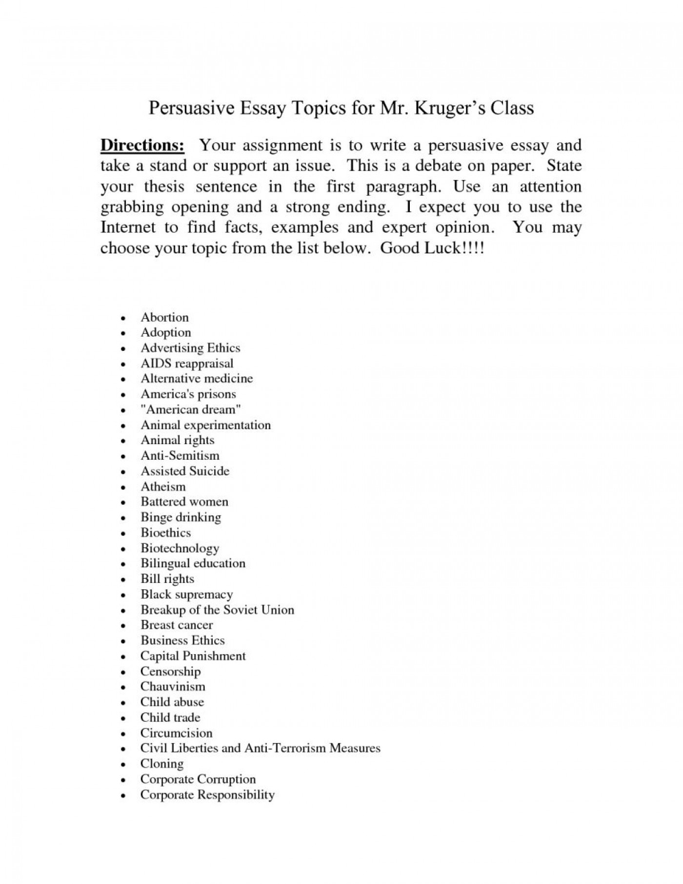 001 Topic For Essay Barca Fontanacountryinn Within Good Persuasive Narrative Topics To Write Abo Easy About Personal Descriptive Research Paper Informative Synthesis College Fantastic Computer Science 1400