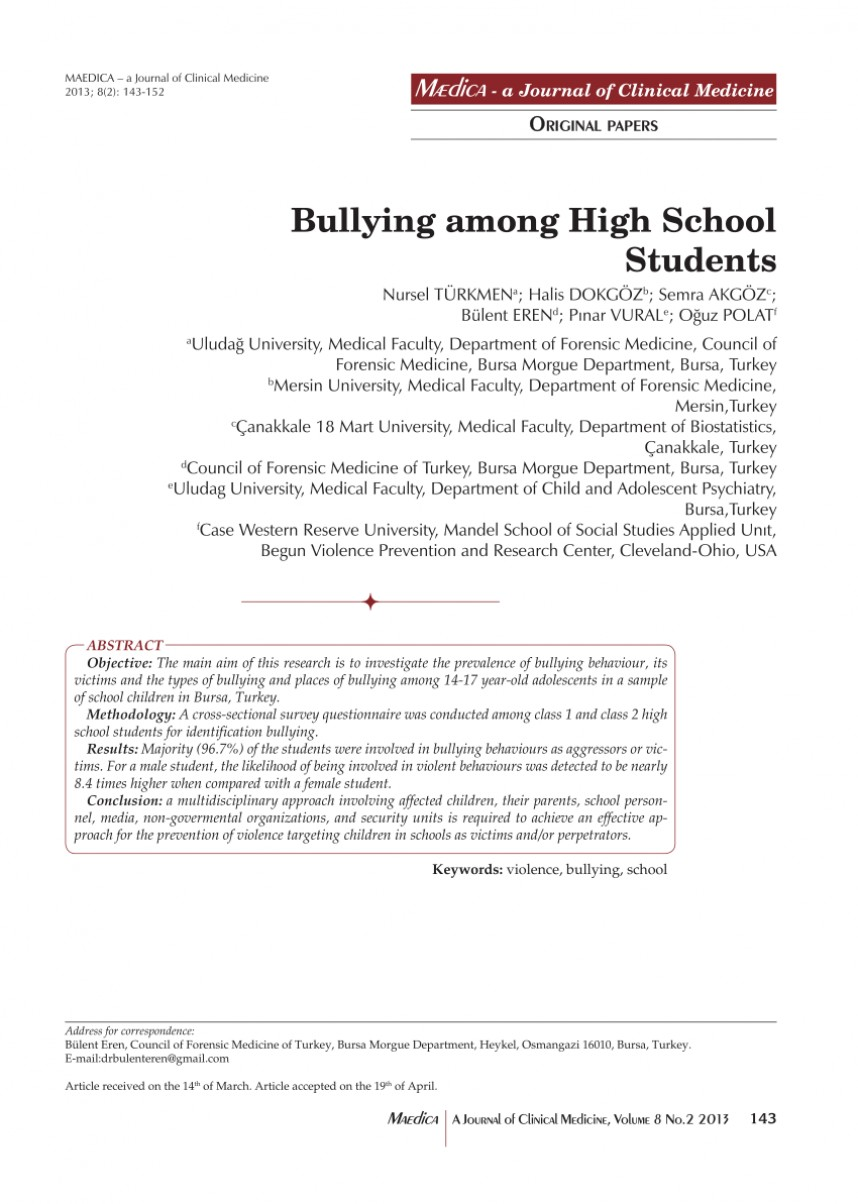 002 Abstract Research Paper About Bullying Formidable