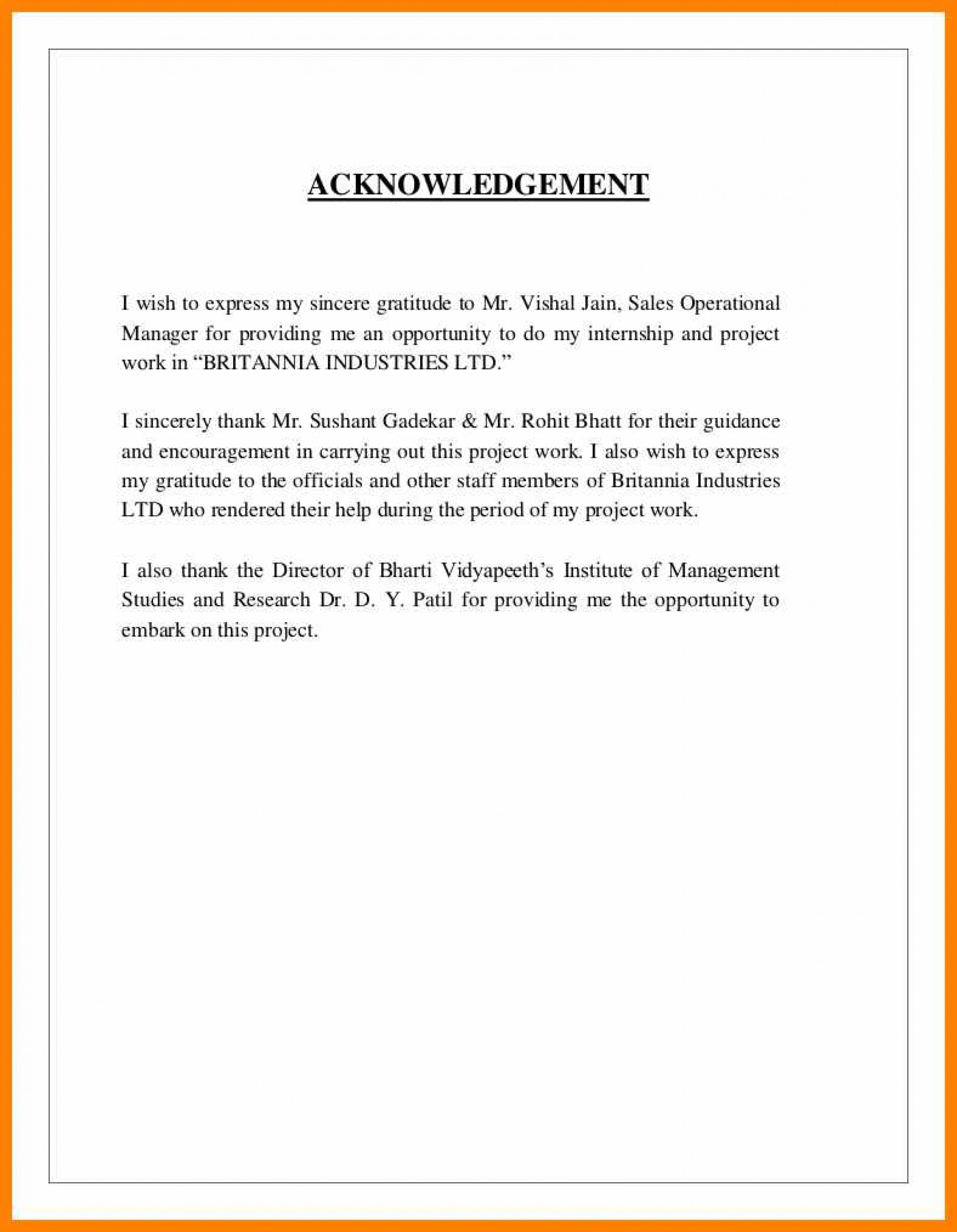002 Acknowledgment Examples Uncategorized Acknowledgement For Internship Report Essential Sample Research Paper Staggering Doc In A 1920