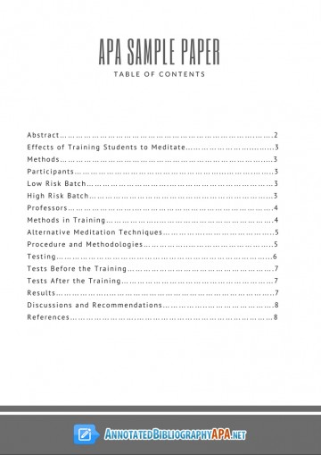 002 Apa Style Research Paper Example With Table Of Contents Stunning 360
