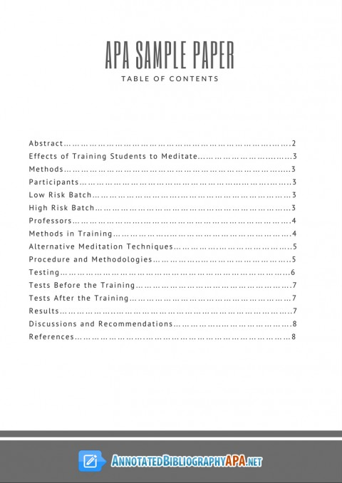 002 Apa Style Research Paper Example With Table Of Contents Stunning 480