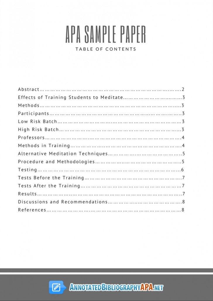 002 Apa Style Research Paper Example With Table Of Contents Stunning 728