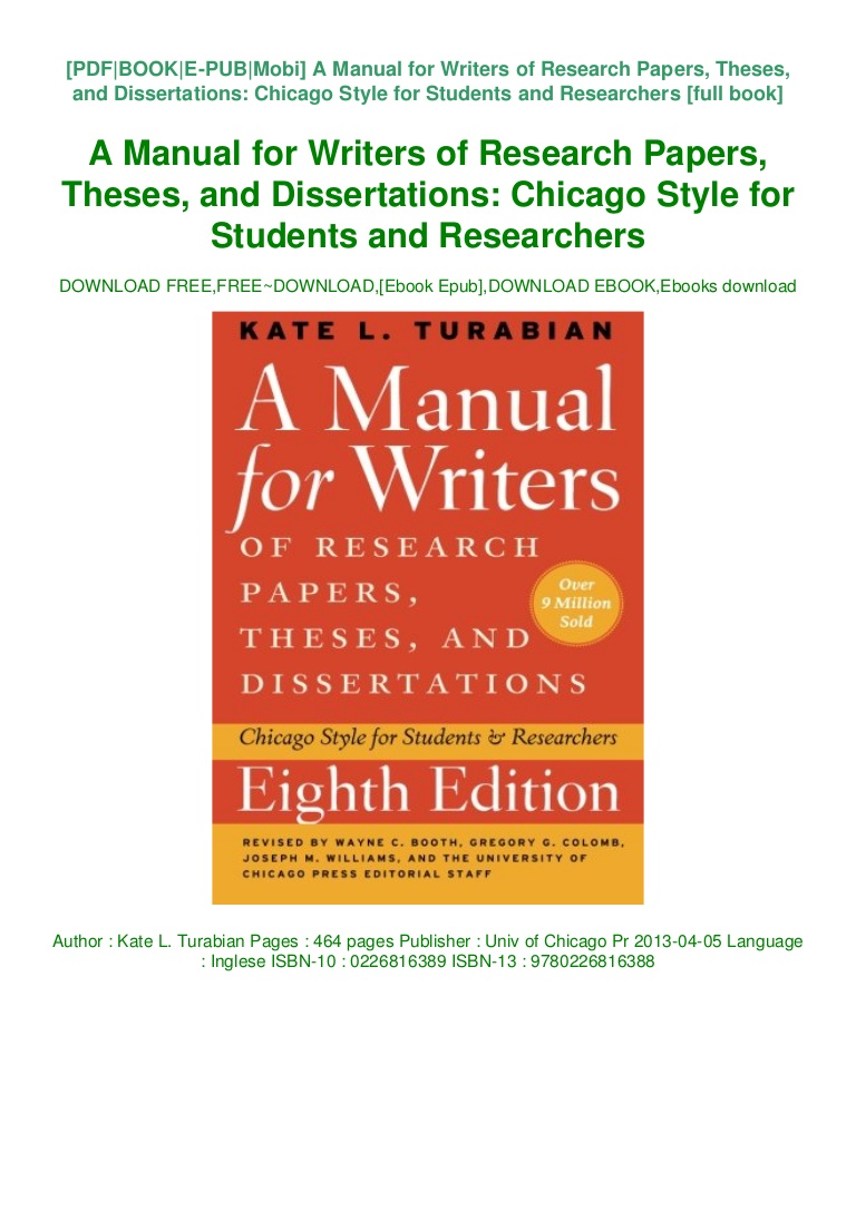 002 Book Manual For Writers Of Research Papers Theses And Thumbnail Paper Dissertations Rare A Download Pdf Full