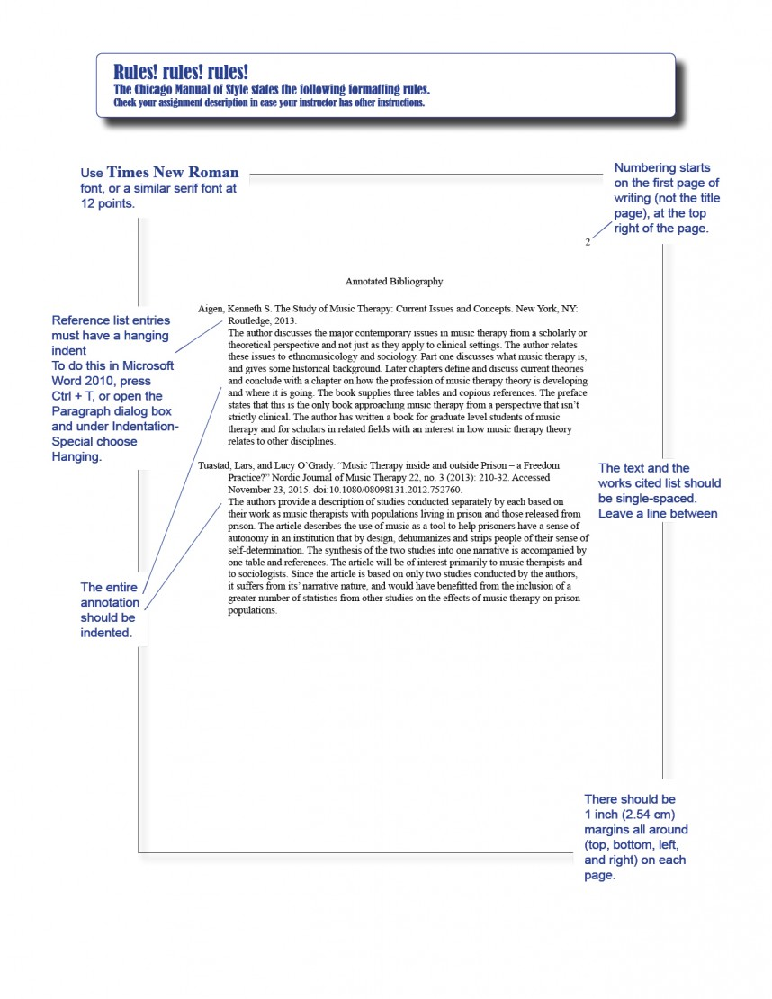 002 Chicago Style In Text Citation Sample Paper Annotated Bibliography Wondrous 868