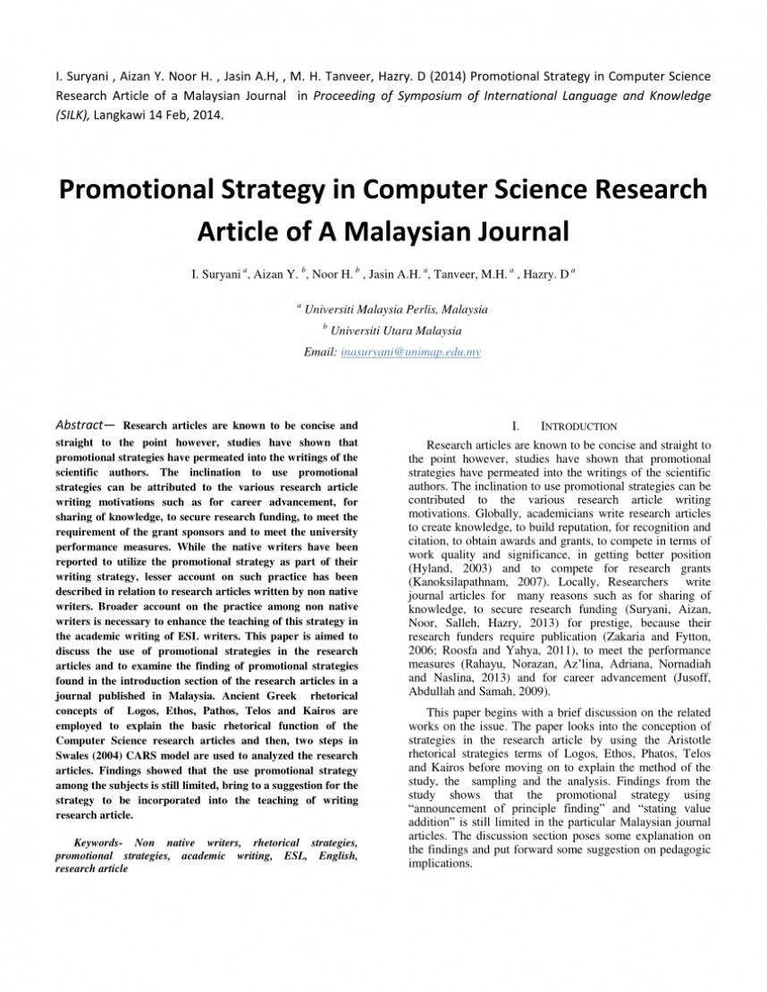 002 Computer Science Research Paper Publishing Journals Sensational