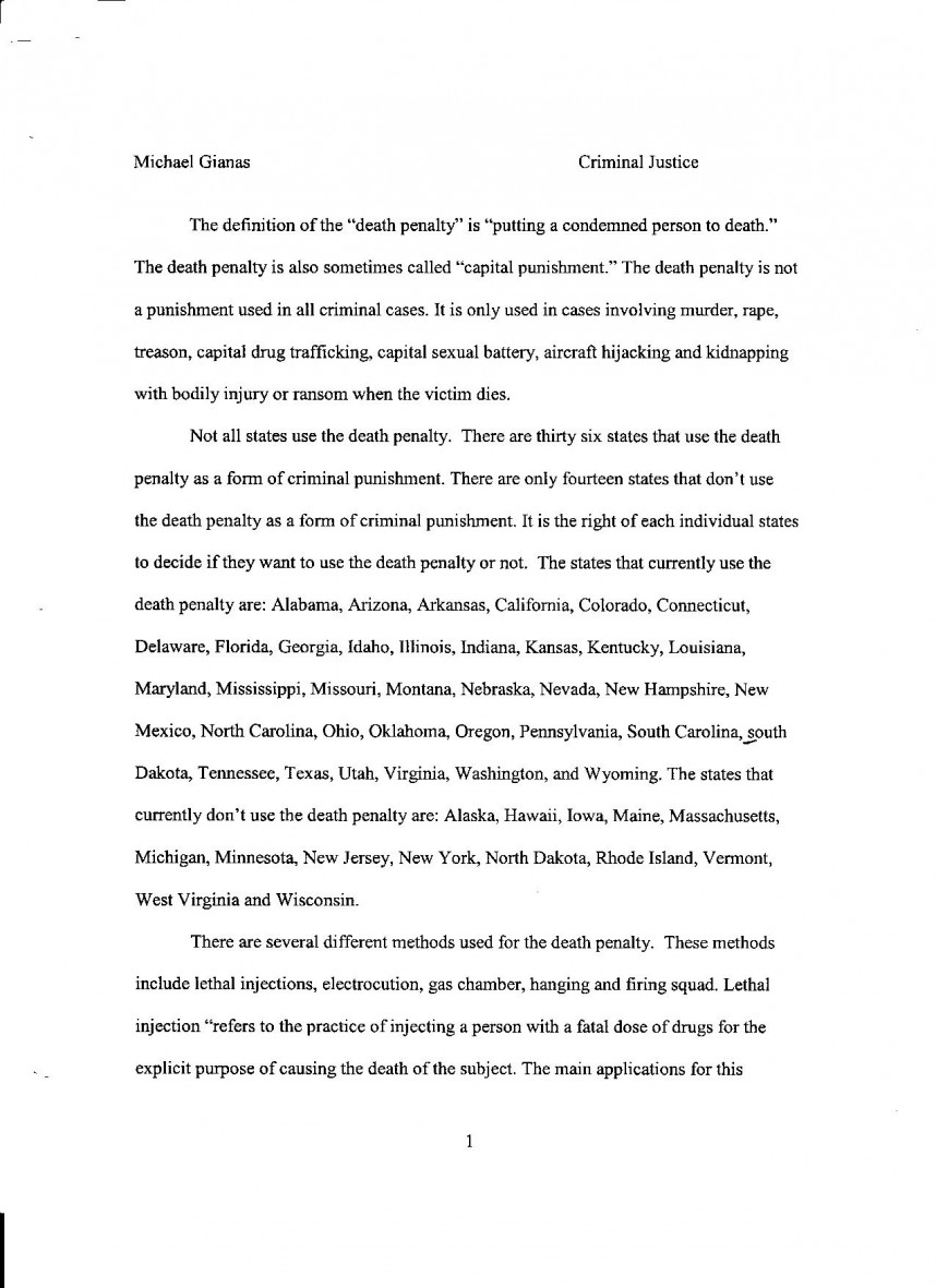 002 Death Penalty Pg Research Paper Awesome Introduction