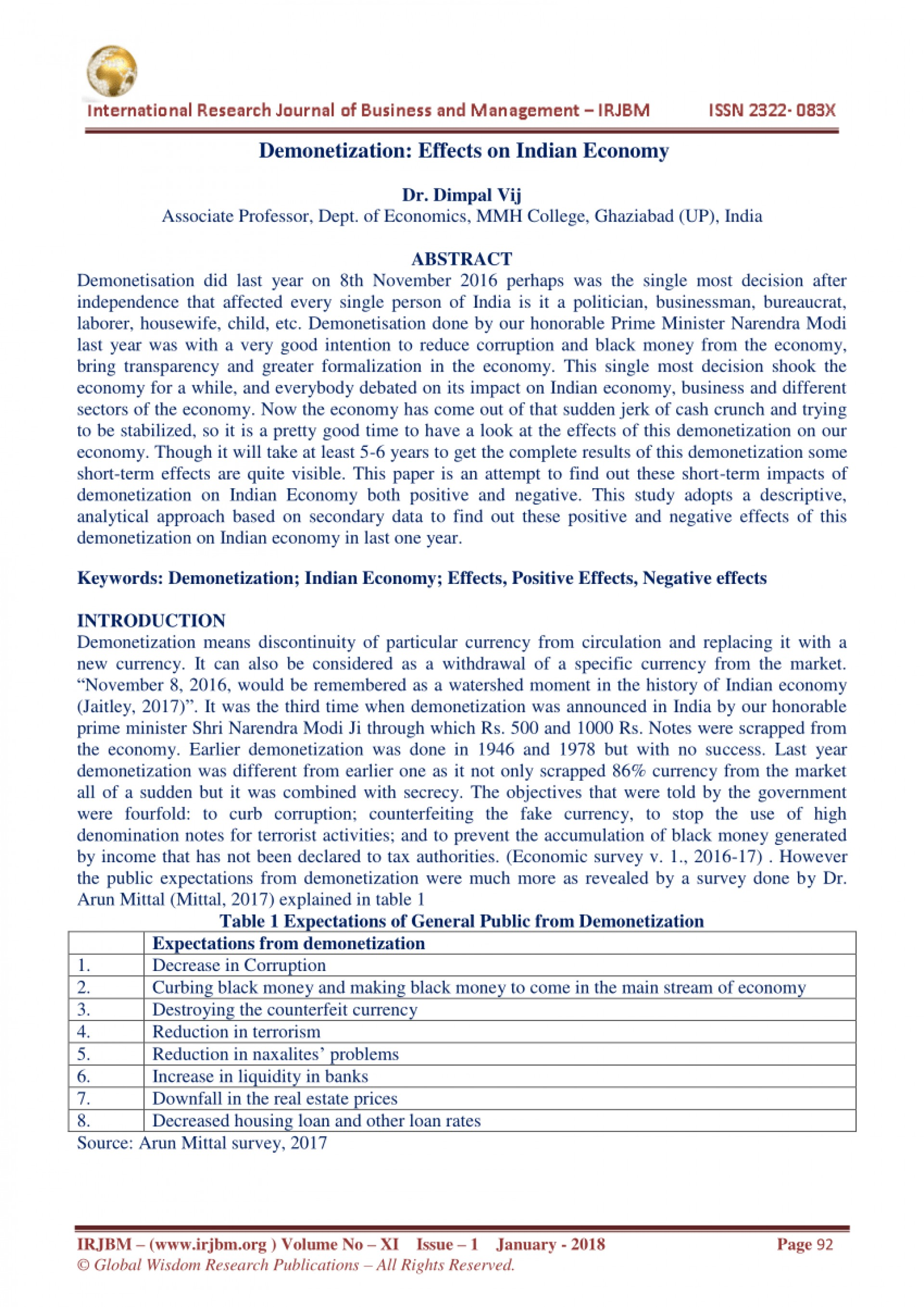 002 Demonetization And Its Impact On Indian Economy Research Paper Frightening 1920