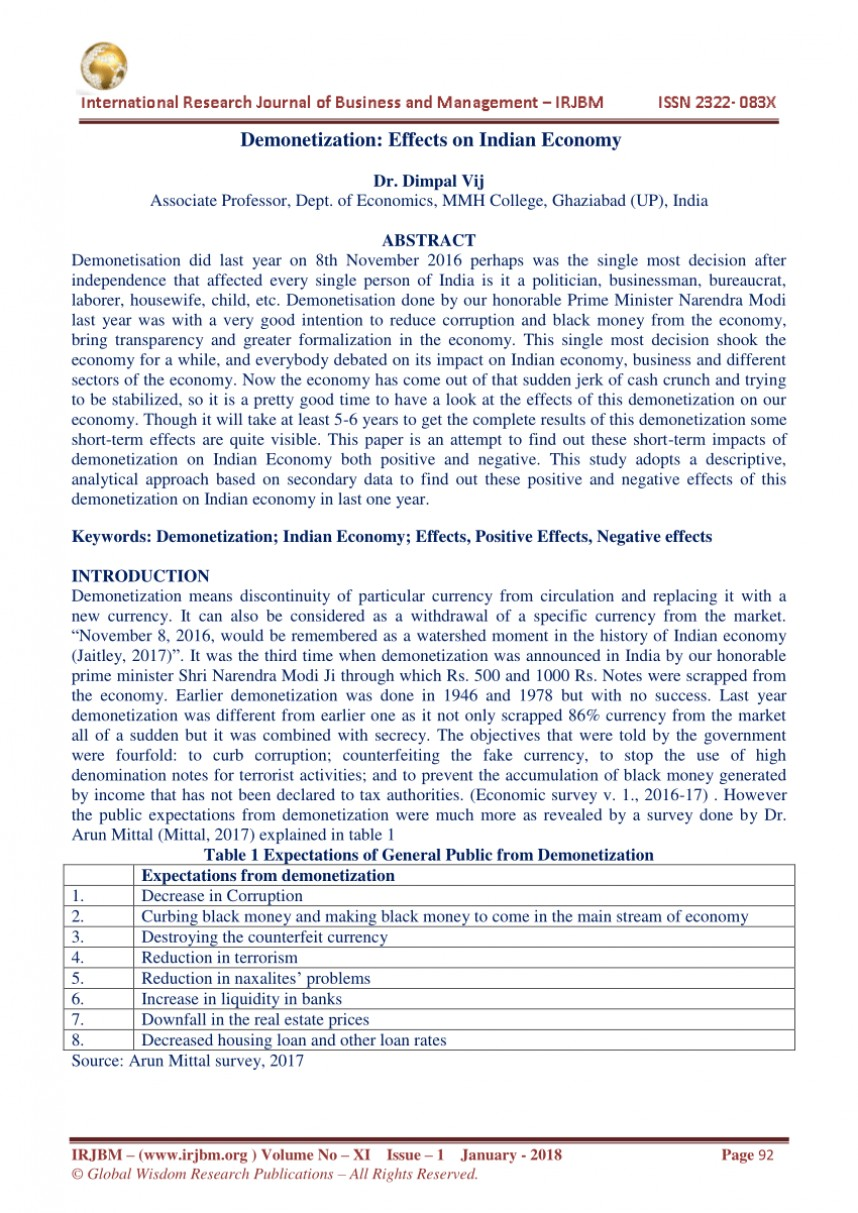 002 Demonetization And Its Impact On Indian Economy Research Paper Frightening