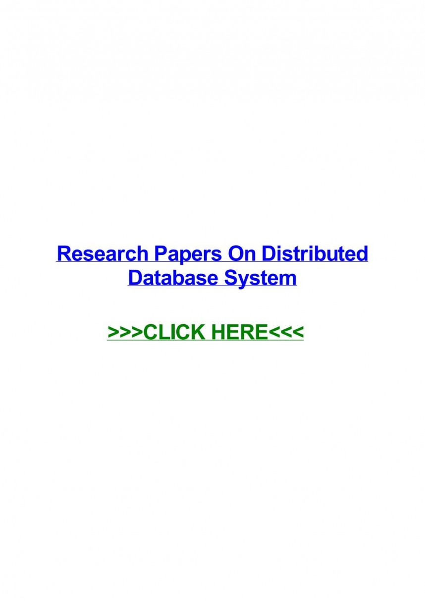 002 Distributed Database Researchs Page 1 Unusual Research Papers Pdf