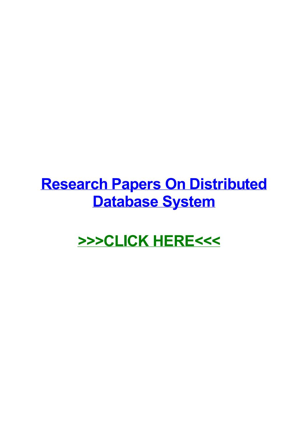 002 Distributed Database Researchs Page 1 Unusual Research Papers Pdf Full