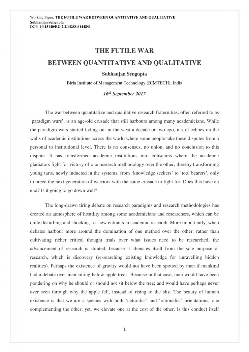 002 Example Of Hypothesis In Qualitative Research Paper Singular