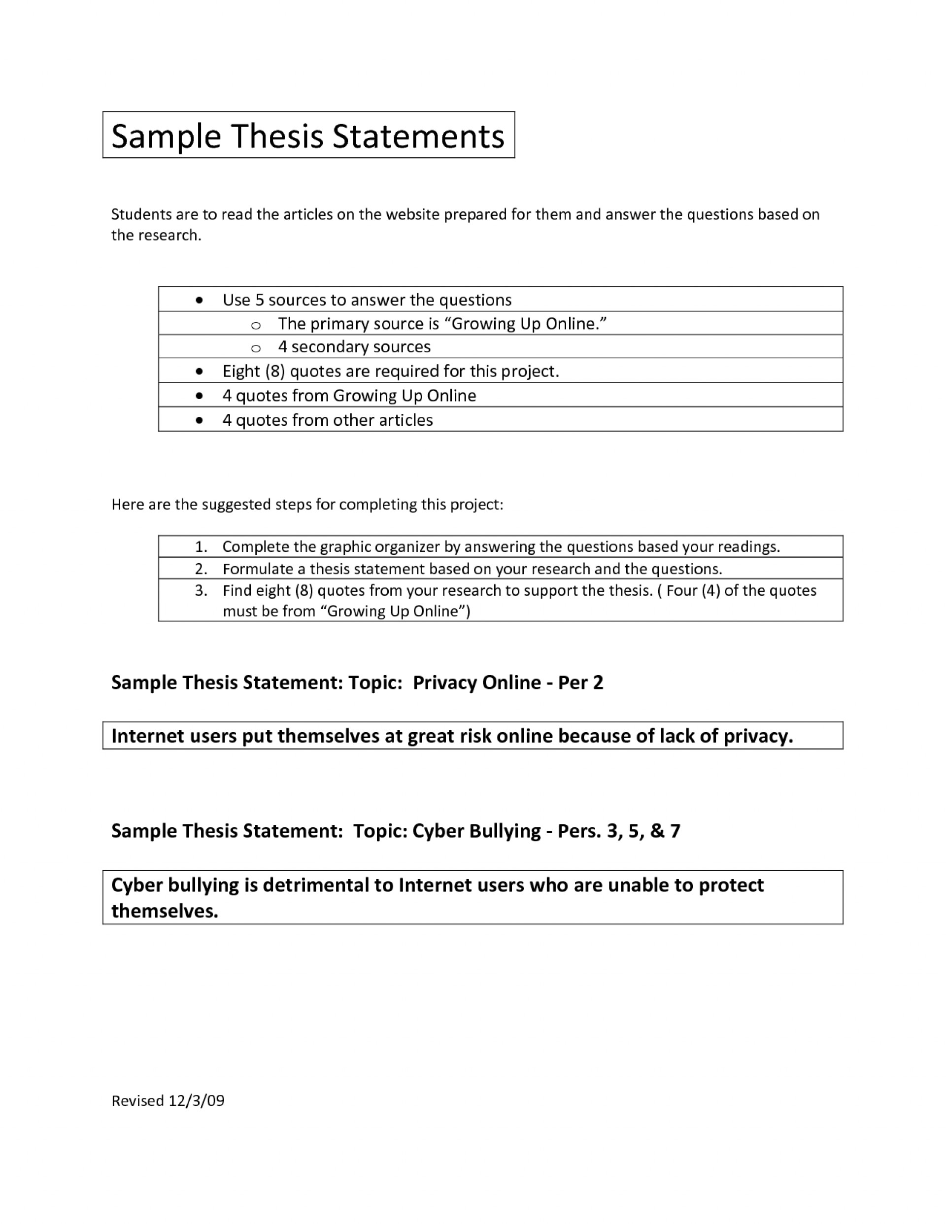 002 Example Research Paper Outline Thesis Staggering Statement 1920