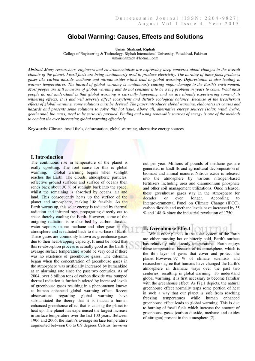 002 Global Warming Research Paper Conclusion Outstanding Full