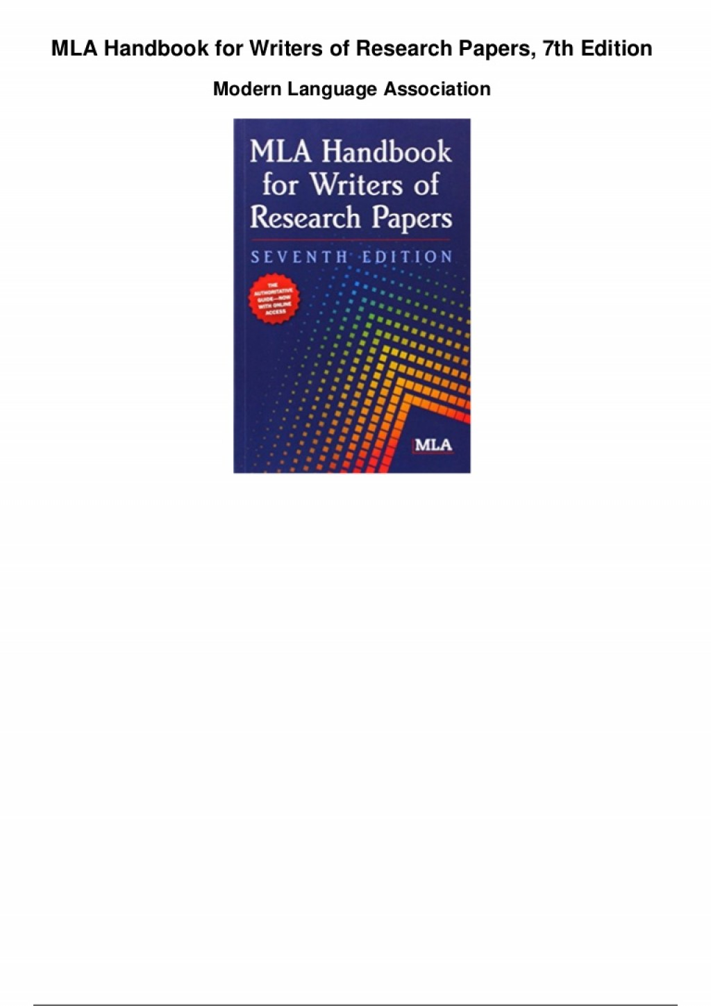 002 Mla Handbook For Writers Of Research Papers 7th Edition Paper Thumbnail Fearsome Pdf Free 2009 Summary Large