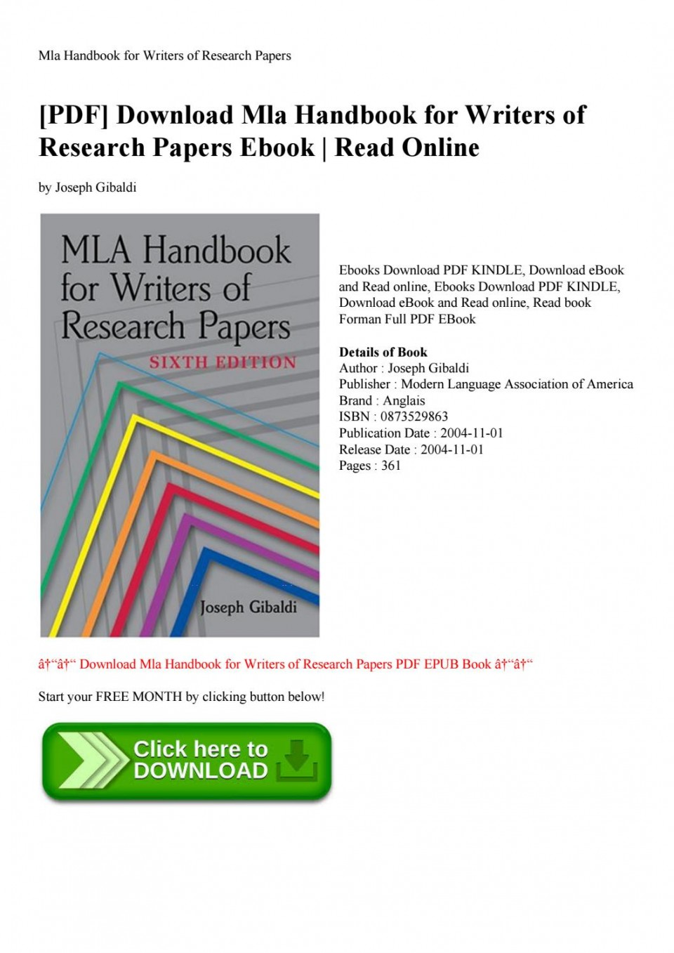 002 Mla Handbook For Writing Research Papers Pdf Paper Page 1 Beautiful Writers Of 5th Edition 7th Free Download 960