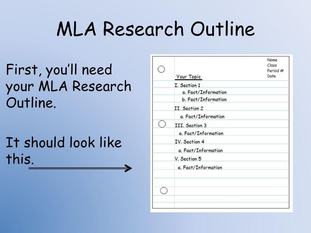 002 Mlaresearchoutlinefirst2cyoue28099llneedyourmlaresearchoutline Itshouldlooklikethis How To Do Notecards For Research Paper Staggering A Mla Make Large