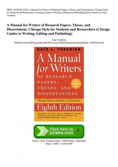 002 Page 1 Manual For Writers Of Researchs Theses And Dissertations Turabian Amazing A Research Papers Pdf 480