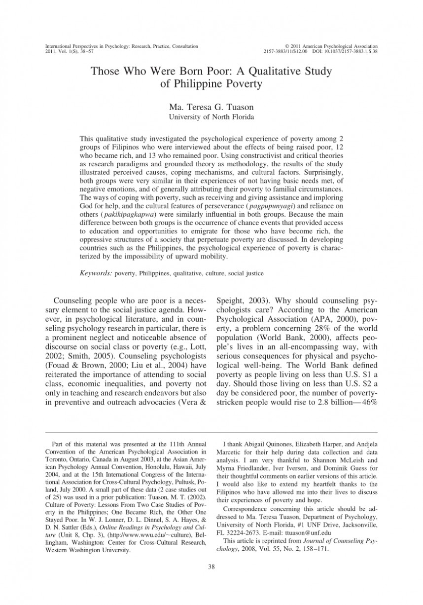 002 Poverty In The Philippines Research Paper Pdf Impressive 868