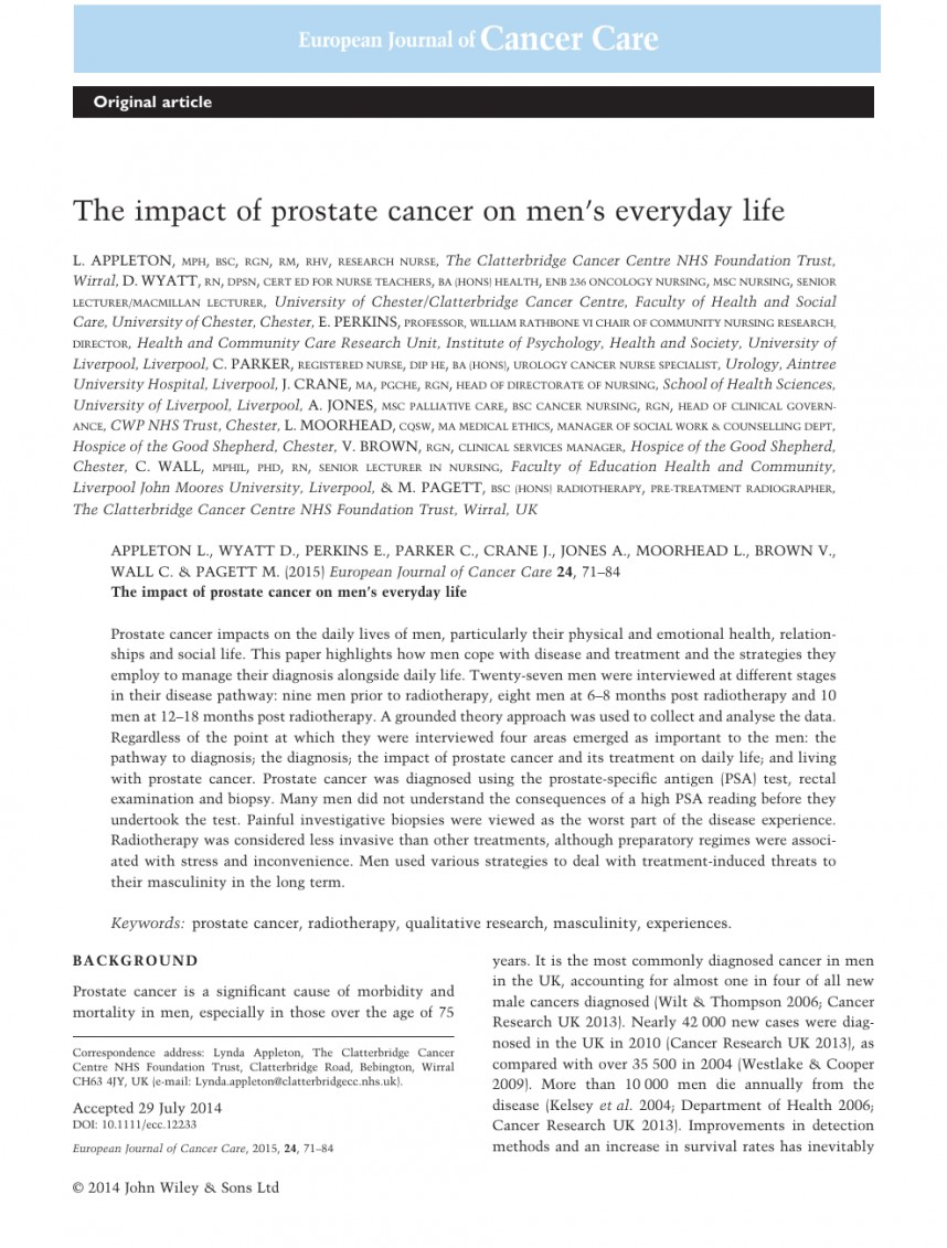 002 Prostate Cancer Research Paper Topics Rare 868