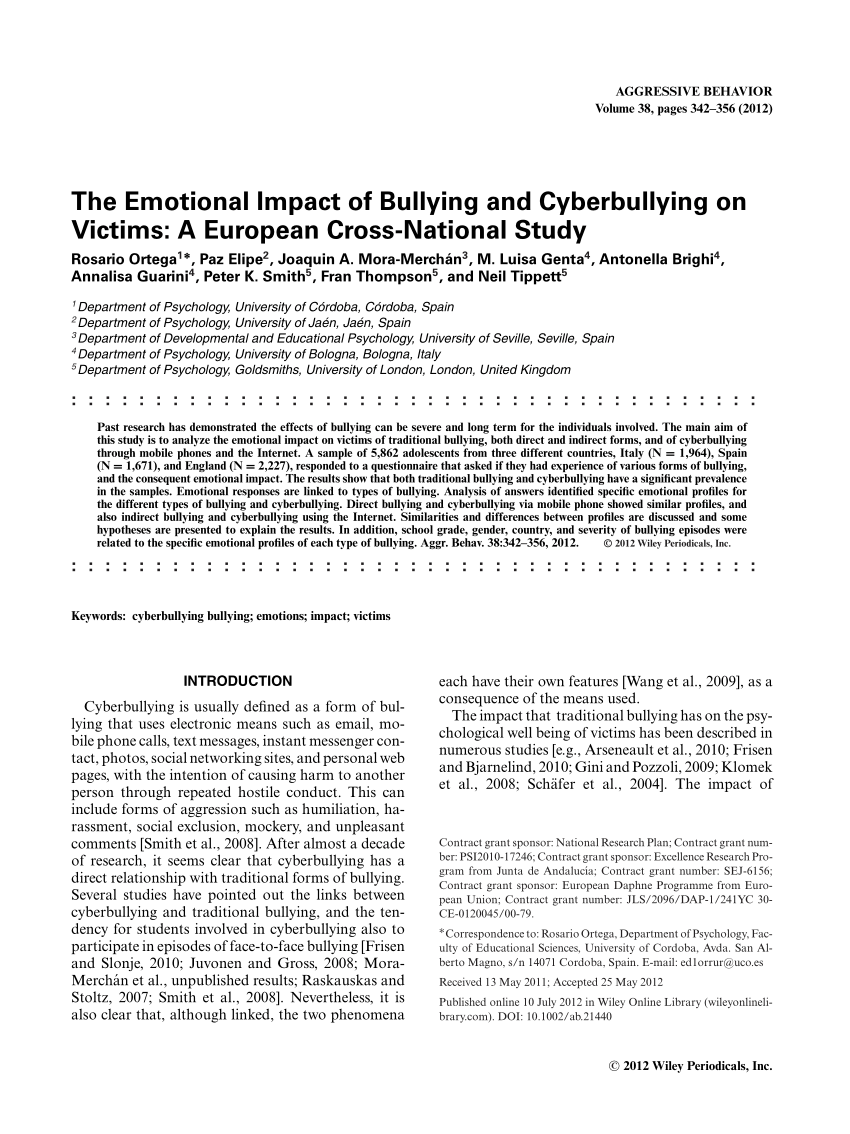 002 Psychological Effects Of Bullying Research Paper Breathtaking Full