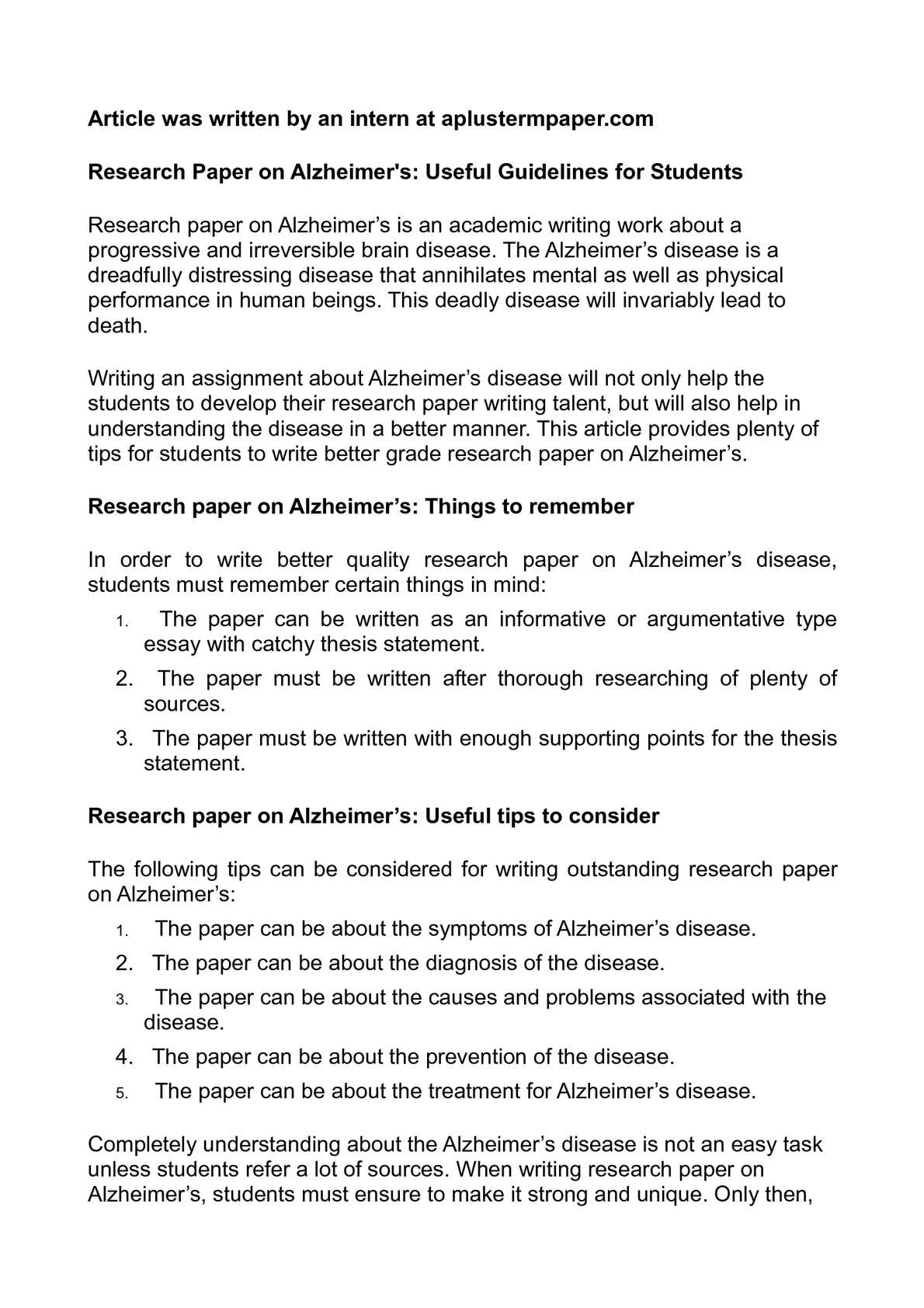 002 Research Paper Alzheimers Disease Introduction Fantastic Alzheimer's Full