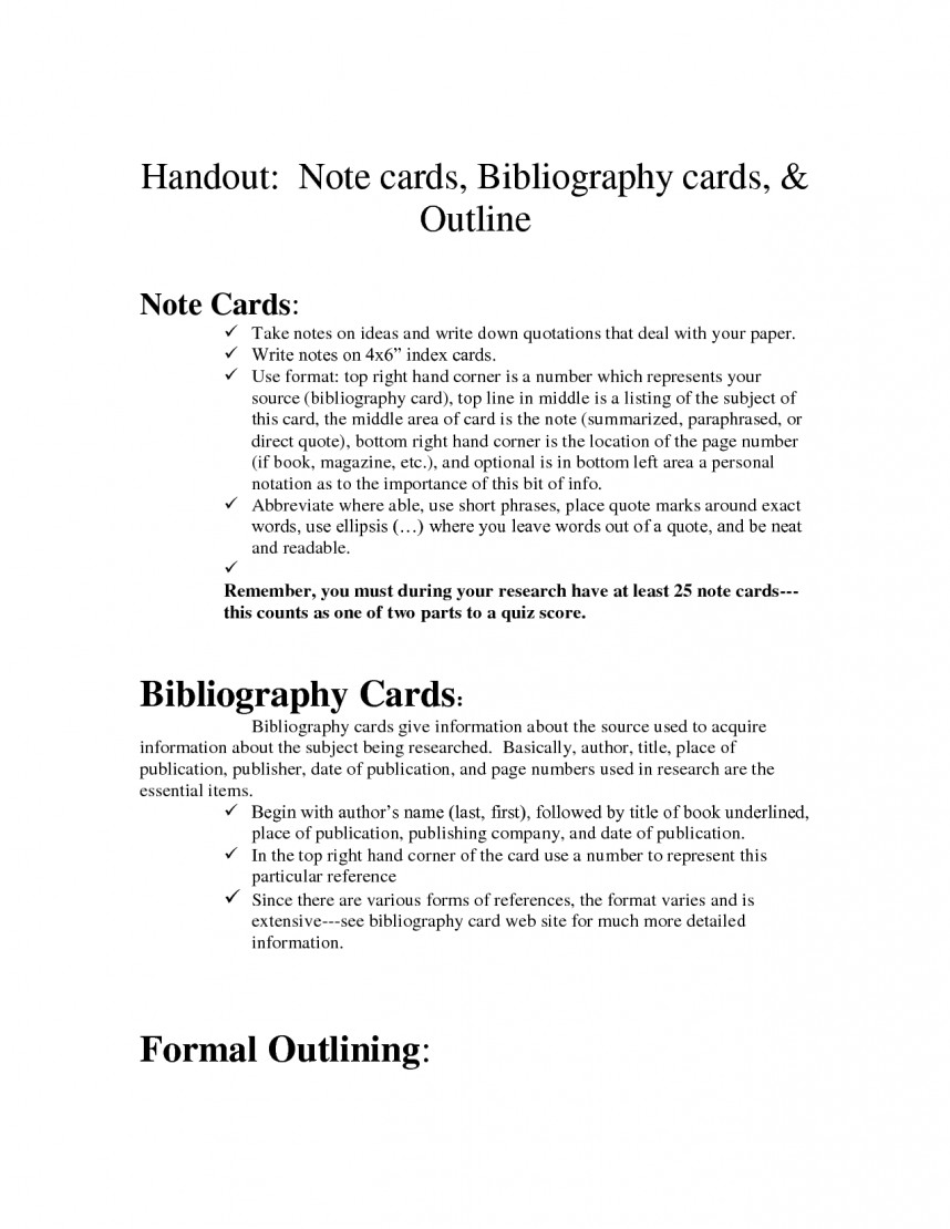 002 Research Paper Bibliography Staggering Cards Note For
