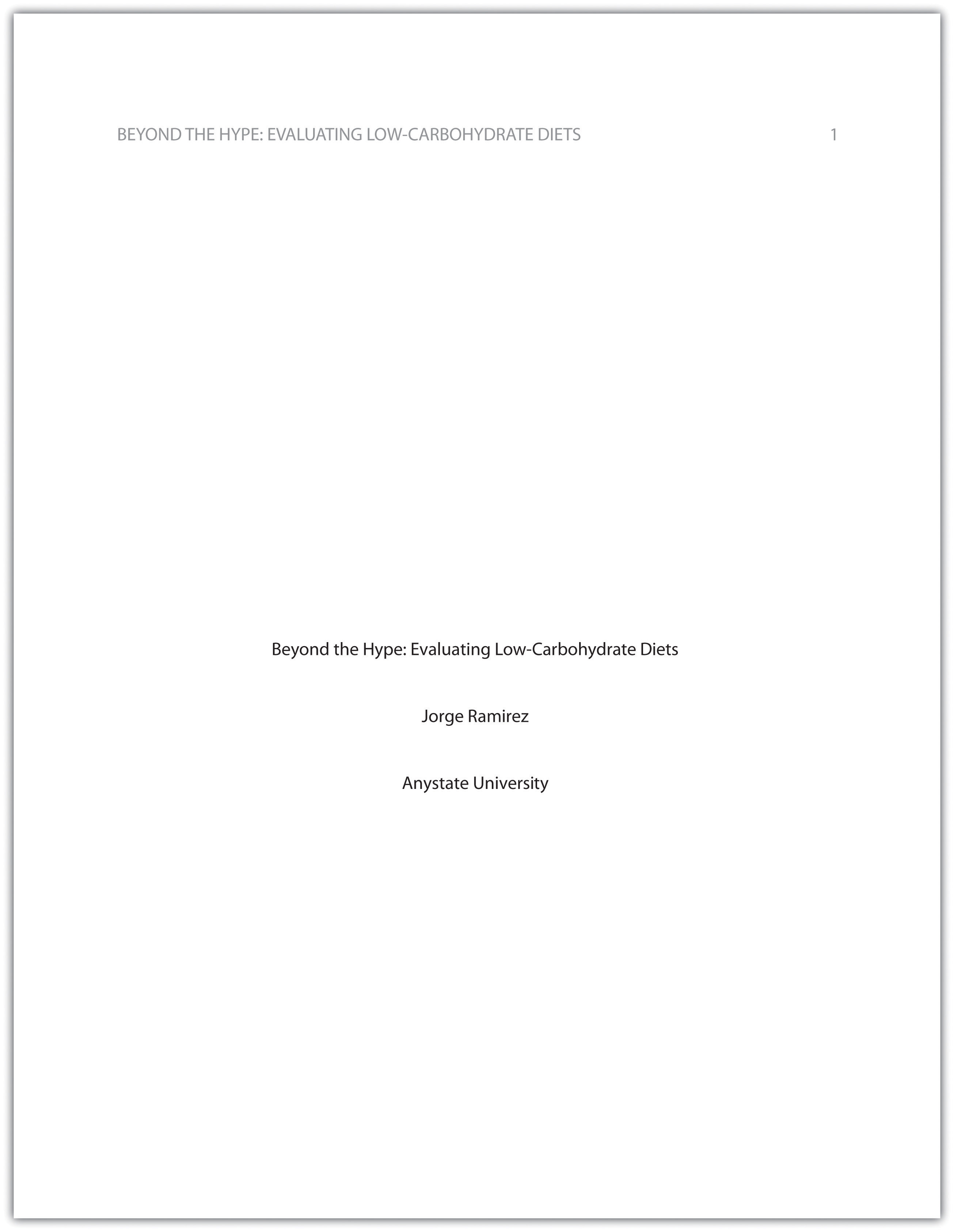 002 Research Paper Cover Page Apa Excellent Layout Format Example Style Full