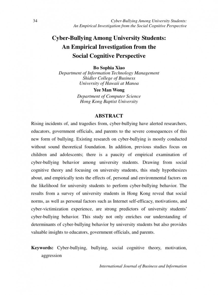 002 Research Paper Empirical Articles On Bullying Best