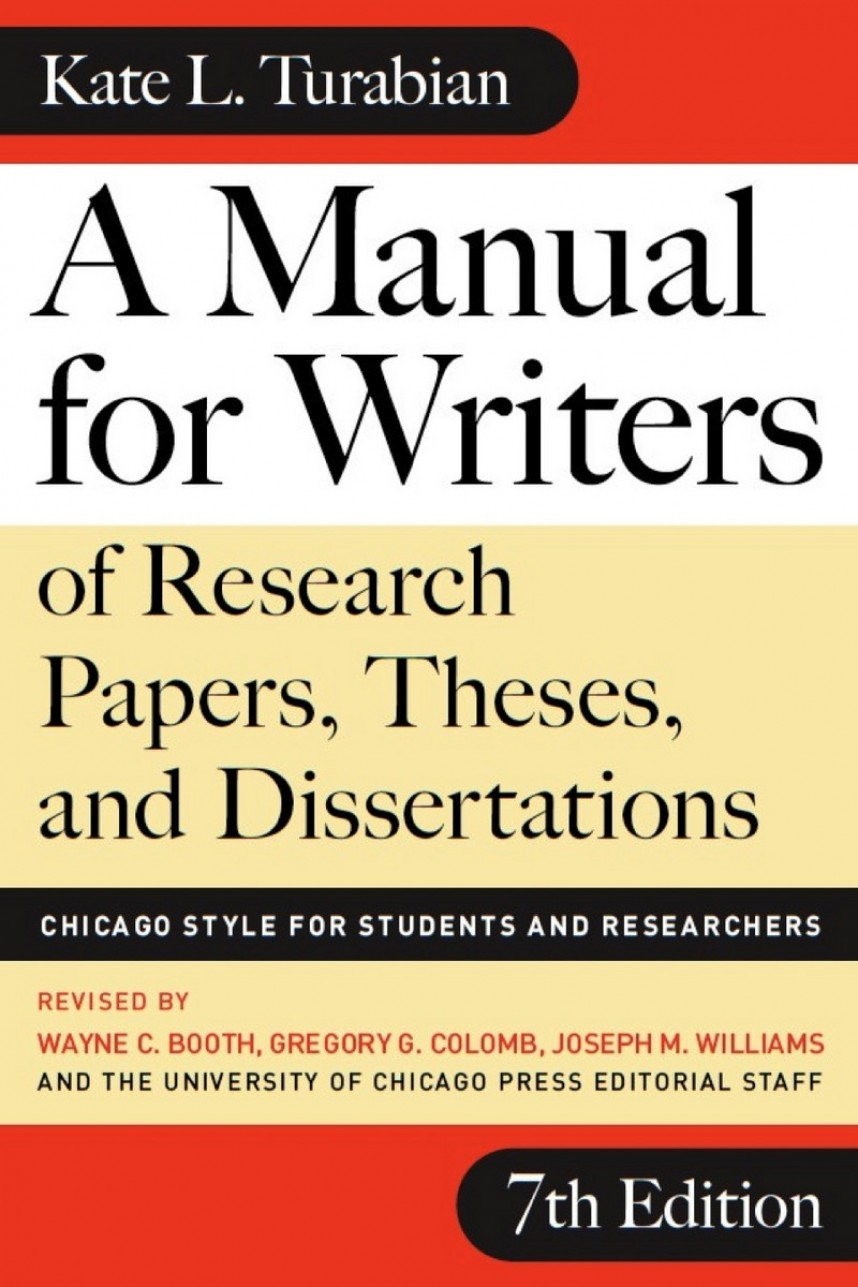 002 Research Paper Frontcover Manual For Writers Of Papers Theses And Dissertations 7th Sensational A Edition