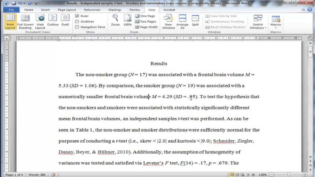 002 Research Paper How To Write Statistical Results In Exceptional A Large