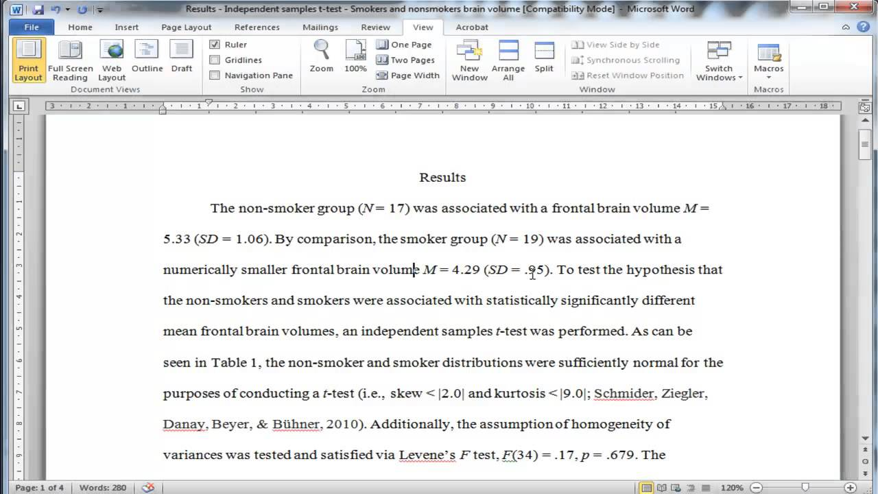 002 Research Paper How To Write Statistical Results In Exceptional A Full