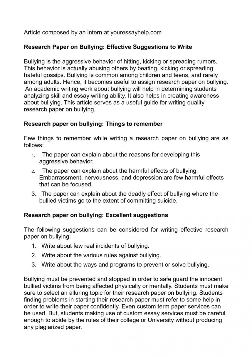 002 Research Paper On Bullying Surprising Sample About In The Philippines Outline Pdf