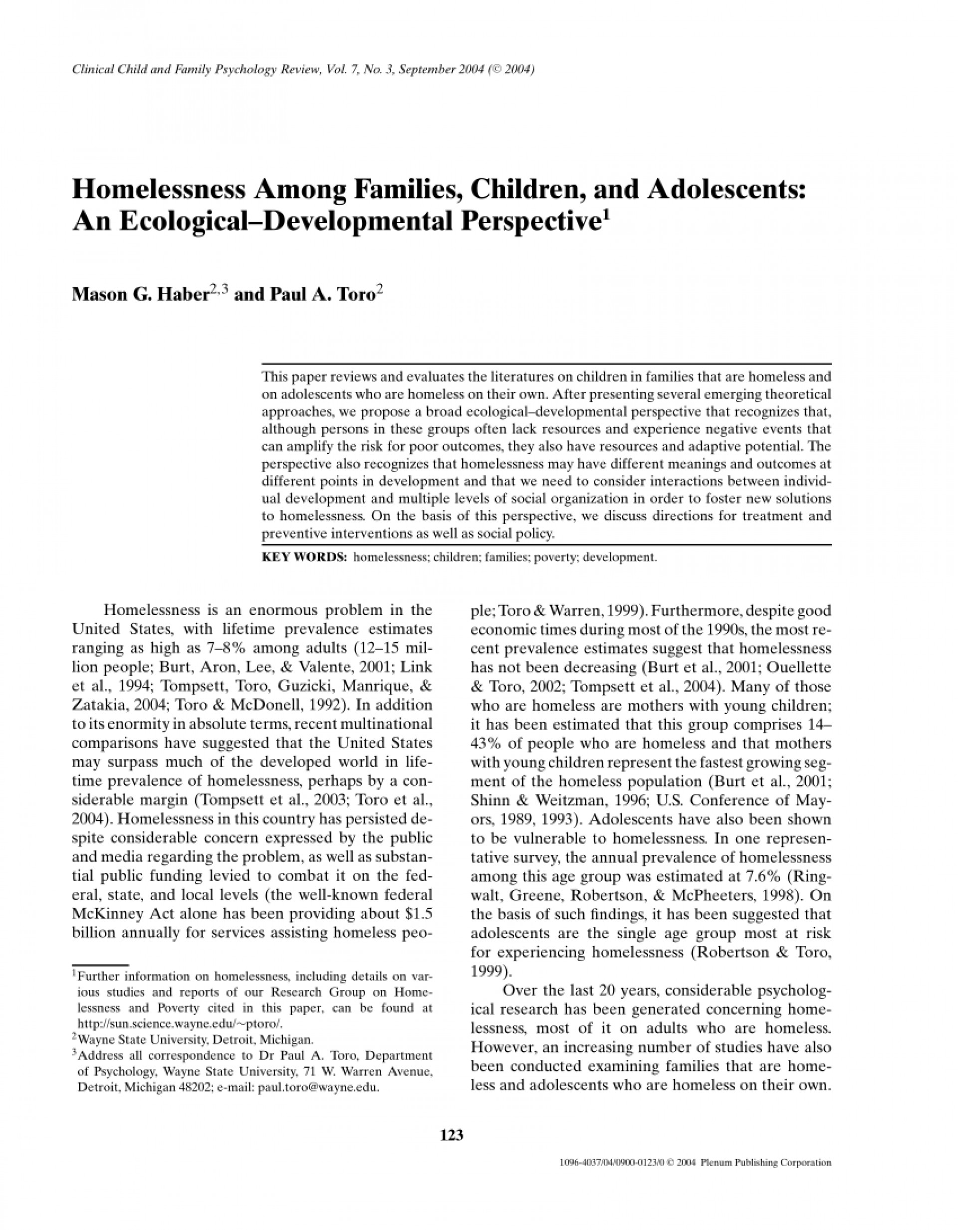 002 Research Paper On Homelessness Singular Article In The United States Sample 1920