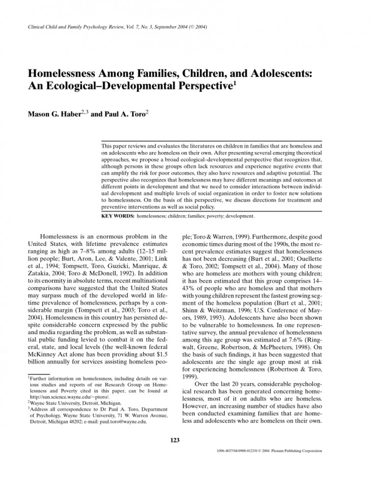 002 Research Paper On Homelessness Singular Article In The United States 728