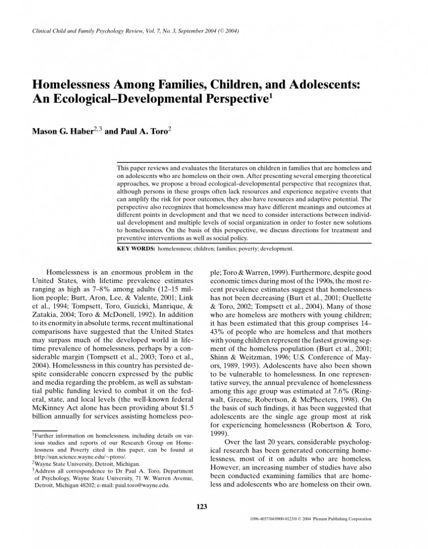 002 Research Paper On Homelessness Singular In The United States Topics