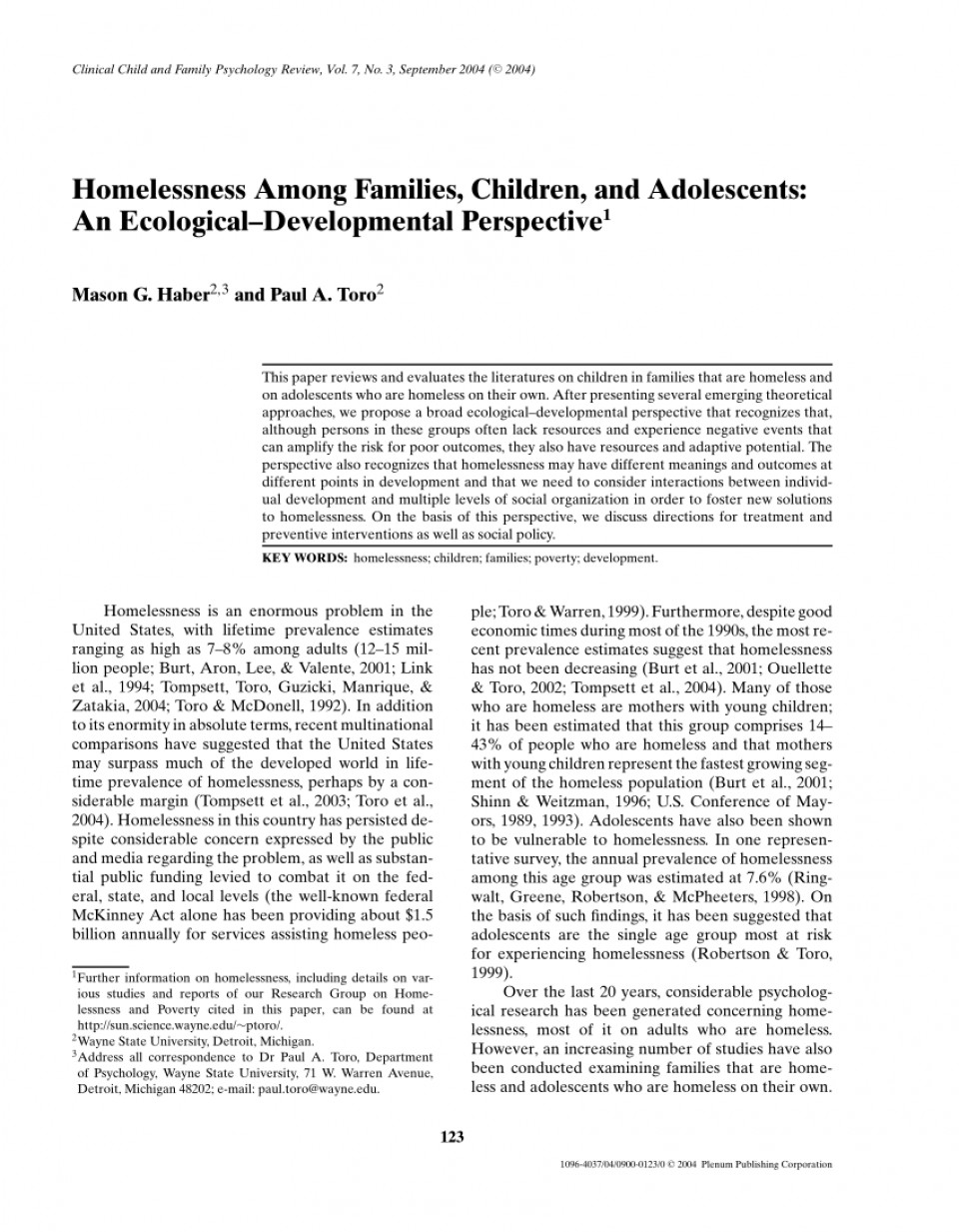 002 Research Paper On Homelessness Singular Article In The United States 960