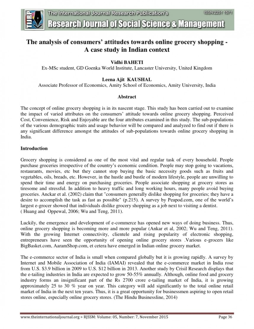 002 Research Paper Online Grocery Shopping Stirring On In India Papers