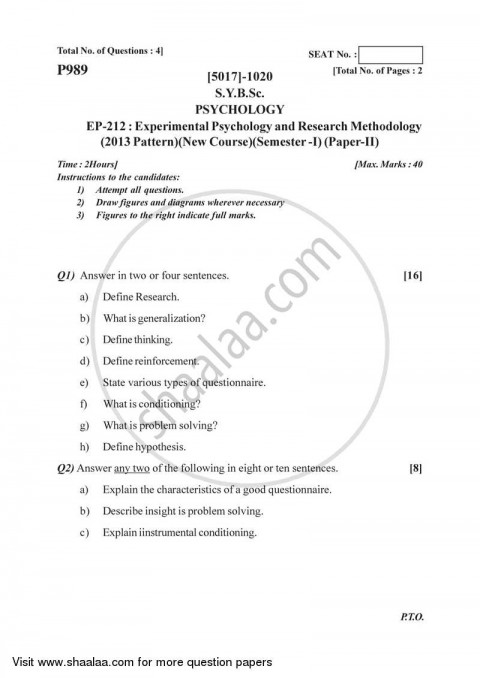 002 Research Paper Psychology Papers University Of Pune Bachelor Bsc Experimental Methodology Semester Sybsc Pattern 221c9c2f32f9549289129306a5f998718 Unforgettable 2017 480
