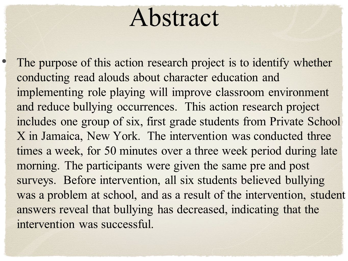 003 Abstract Research Paper About Formidable Bullying Full