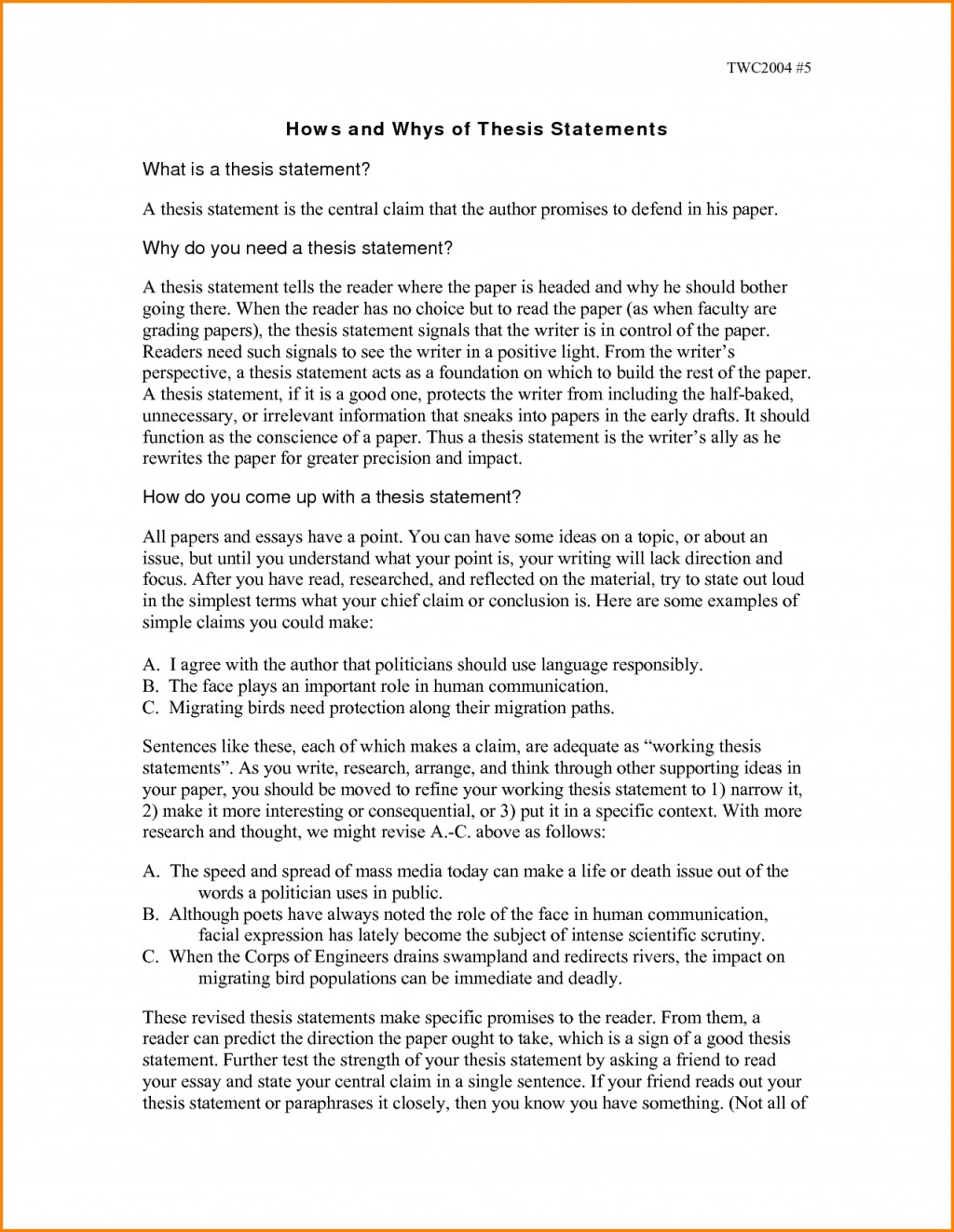 003 Argumentative Research Paper Thesis Statement Examples For Essays Stunning Large