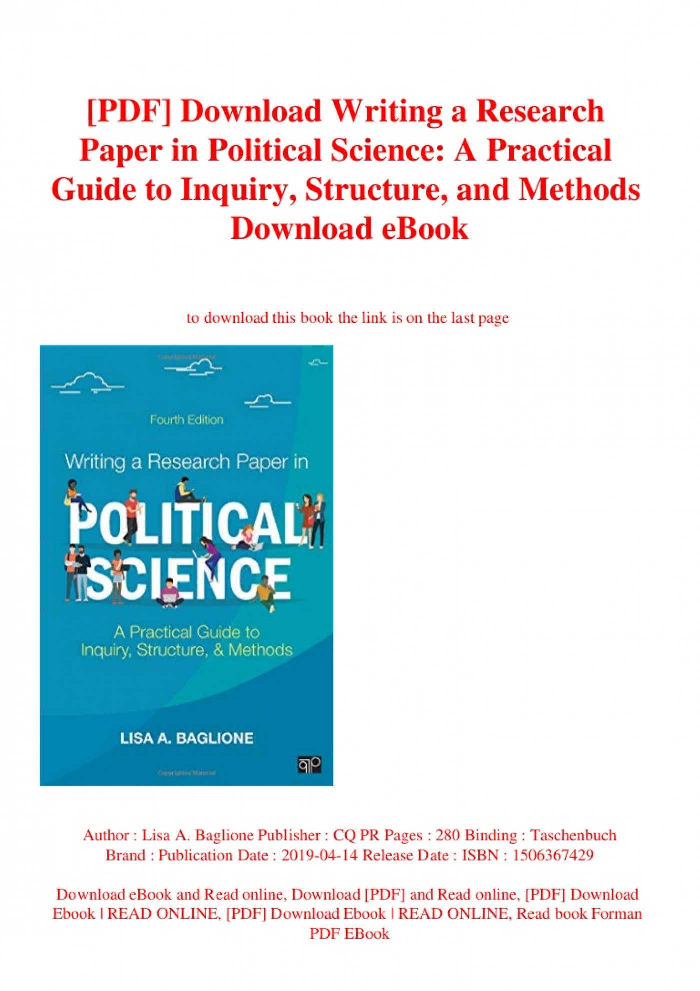 003 Baglione Writing Research Paper Pdf Pdfdownloadwritingaresearchpaperinpoliticalscienceapracticalguidetoinquirystructureandmethodsdownloa Thumbnail Awesome A In Political Science Lisa 1400