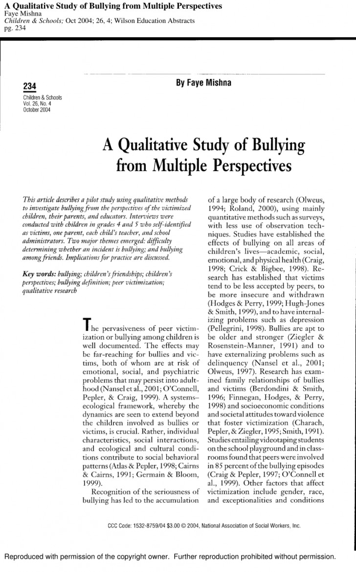 003 Bullying Research Paper Pdf Imposing Short About Quantitative Effects Of 728