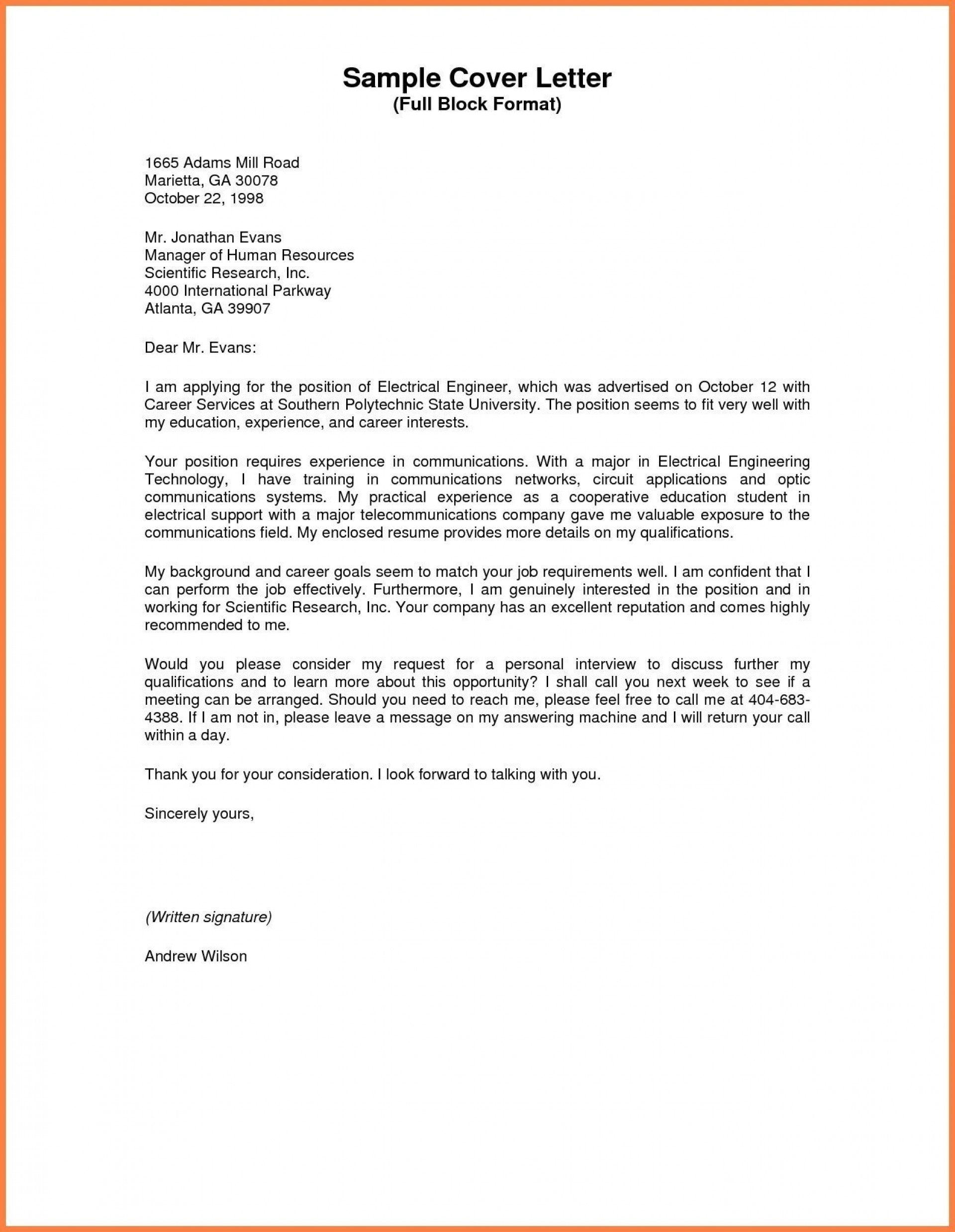 003 Business Letter Sample Full Block Valid Style Format Standard Of Research Awful Paper 1920