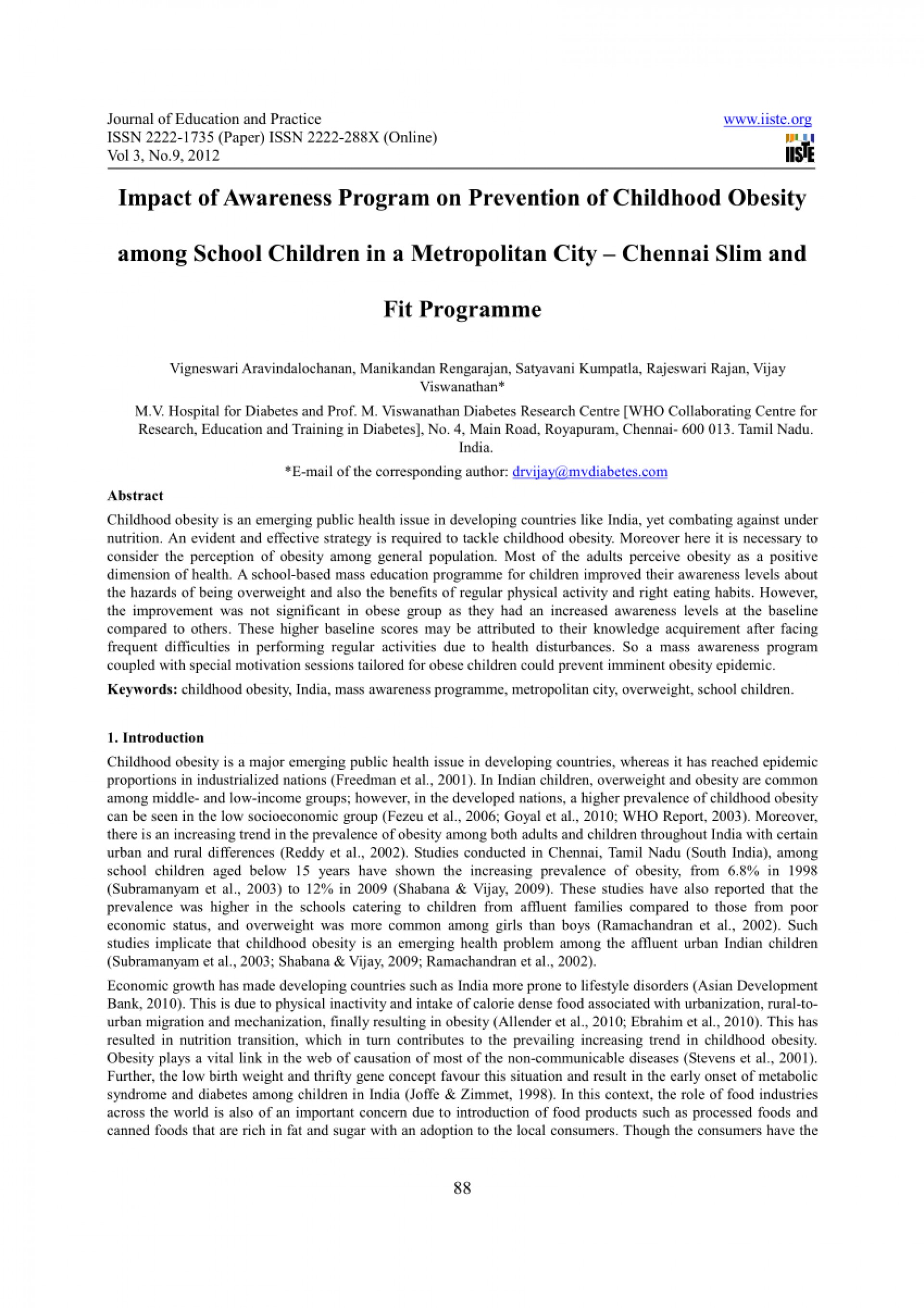 003 Childhood Obesity Research Paper Abstract Formidable 1920