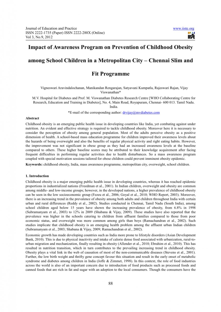 003 Childhood Obesity Research Paper Abstract Formidable