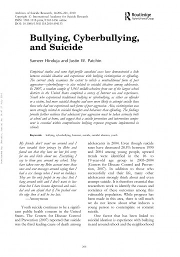 003 Cyberbullying Research Papers Paper Remarkable Effects Of Pdf Titles 360