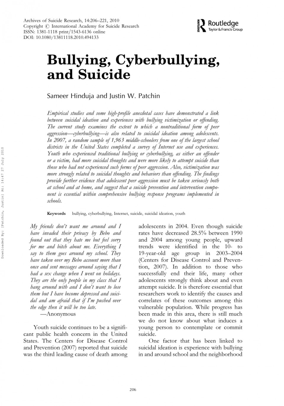 003 Cyberbullying Research Papers Paper Remarkable Effects Of Pdf Titles 960